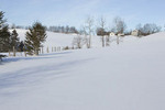 Farmhouse & fence w/ snowcover