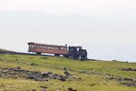 Mt. Washington cog railway. Train going down.