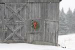 Wreath on Barn, falling snow