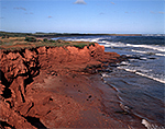 Red sandstone cliffs along the Gulf of St. Lawrence