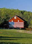 American Flag Painted on a Red Barn