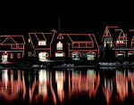 The lights of Boat House Row reflecting in the Schuylkill River in Philadelphia