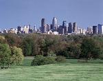 The Philadelphia skyline and Fairmount Park