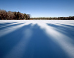 Tree Shadows Across a Frozen Lake