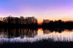 Fresh Water Pond at Sunset in Autumn