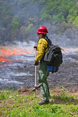 Forest Fire Specialists Conducting a Prescribed Burn to Restore Native Grasslands