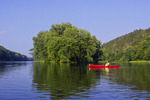 Kayaker on the Midde Delaware Scenic and Recreational River at Tocks Island