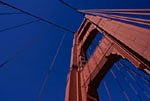 Golden Gate Bridge tower and suspension cables, San Francisco