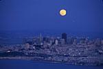 Moonrise over San Francisco, California