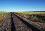 Railroad track in farmland