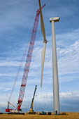 Large crane lifting wind turbine rotor