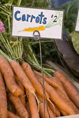 Organic carrots at farmers market; October 2009, Nevada City California