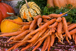 Organic carrots and squash at farmers market; October 2009, Nevada City California