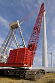 Manitowoc 16000 crawler crane being used to lift wind turbine rotor during wind farm maintenance operation