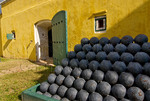 Cannonballs outside ammunition storage room, Fort Christiansvaern, Christiansted National Historic Site, St Croix, US Virgin Islands