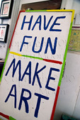 Sign at entrance to public art studio
