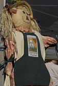 Decorative scarecrow at farmers' market, downtown Nevada City, California