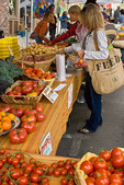 Shopping for organic produce at farmers' market, Nevada City, California