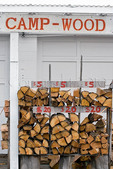 Roadside business selling campfire wood, Coos Bay, Oregon