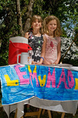 Two girls selling lemonade, Nevada City, California