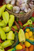 Organic produce at farmers market in upscale California city near San Francisco