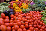 Organic produce at farmers market in upscale California city near San Francisco
