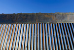 US Border Fence, east of Nogales Arizona USA, constructed autumn and winter of 2008, viewed from Mexico side near eastern terminous of this section of fence.