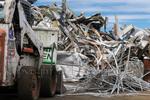 Mixed pile of scrap aluminum at metal recycling facility, Tacoma Washington USA