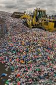 Huge pile of aluminum cans at metals recycling facility, Tacoma Washington USA