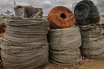 Massive coils of wire at metals recycling facility, Tacoma Washington USA