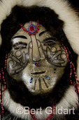 Dora Buchea creates caribou face masks of traditional Siberian Yupik people; as seen during  2009 World Eskimo-Indian Olympics, Fairbanks, AK. USA