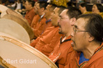 Frank Bester (right front), one of Kuugimut Dancers and drummers of Wainright, AK; as seen during  2009 World Eskimo-Indian Olympics, Fairbanks, AK. USA