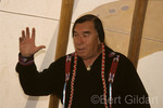 Curly Bear Wagner, Blackfeet historican, providing cultural insights from inside teepee, St. Mary; Glacier National Park, Montana