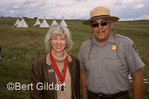 Former Secretary of Interior Gail Norton with Gerard Baker, who was the second Native Superintendent at Little Bighorn Battlefield