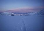 Ski and sled tracks, Siachem glacier, Karakoram Mtns, Pakistan, Asia