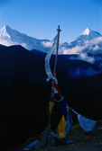 Bhutan, Asia.  Mountains, prayer flags.