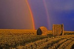 Double rainbow and bales during storm