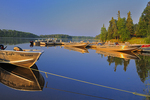 Boats on Lac Seul at Golden Eagle Resort at sunrise