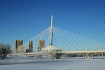 WInnipeg skyline, Esplanade Bridge and the Red River in winter
