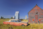 Old shed, car and grain elevator