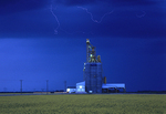 Grain elebvator and lightning during storm