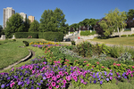 Flower gardens behind the Manitoba Legislature