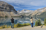 Tourists admiring the Canadian Rocky Mountains