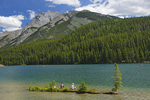 Sitting on island in Two Jack Lake in the Rocky Mountains