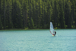 Sailing on Two Jack Lake in the Rocky Mountains