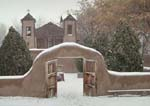 Heavy Snowfall at El Santuario de Chimayo, an old mission (church) between Santa Fe & Taos, New Mexico.