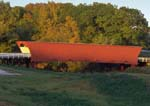 Historic Hogback Covered Bridge at sunset. Iowa.