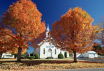 Autumn foliage at a country church