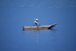 Man fishing from a small boat in Lake Atitlan, near San Lucas, Guatemala
