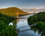 HF#001 Suspension Bridge and Bear Mtn Bridge, Popolopen Creek, Hudson River, Fort Montgomery State Historic Site, Highland Falls, NY